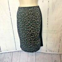 Chicos Womens Skirt Size 3 Black Gray Animal Print Panel Back Zipper Ponte