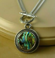 ABALONE Stainless steel double chain snap button pendant Necklace women jewelry