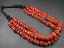 N3940 Tribal Strand RED Glass Beads BONE Ethnic NAGA BOLD FASHION NECKLACE TIBET