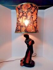 Reglor of Calif 1951 Vintage Figurative Black & Red Large Table Lamp With Shade