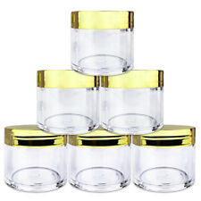 Beauticom® (6 PCS) 30G/30ML High Quality Clear Plastic Jars with Gold Lids