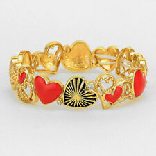 Heart Bracelet Red Hearts Stretch Bangle GOLD Infinity Love Couples Mom Family
