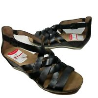 Dansko women Sandals Black Leather Strappy woven low Wedge shoes Size 37 US 7