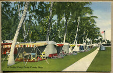 VINTAGE LINEN POSTCARD Line of Airstream Trailers in Florida