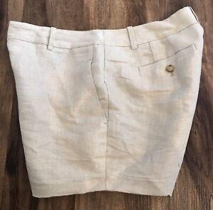 Ann Taylor LOFT Petites Tan Metallic Linen Blend Shorts Sz SP