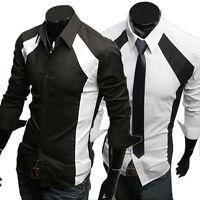 Men's Casual Shirt Fashion Long Sleeve Slim Luxury Stylish Patched Dress Shirts