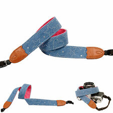 Blue Denim silver print Fashion Camera Neck Shoulder Strap Film SLR DSLR RF Cute