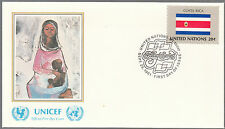 FDC FIRST DAY COVER NEW YORK NATIONS UNIES 1981 FLAG SERIES COSTA RICA UNICEF