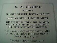 magazine item 1970 / 1971 - bovey tracey advert  K A Clarke butcher
