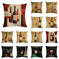 "18"" Cotton Linen Vintage Red Wine Pillow Case Sofa Cushion Cover Home Decor"