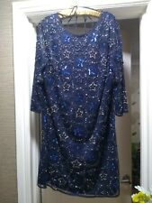 Monsoon Limited Edition Navy Dress With Sequin Star Details