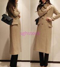2019 Ladies Wool Blend Double-breasted Slim Long Coat Jacket Windbreaker Outwear