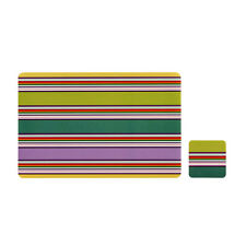 Colour Stripe Set Of 4 Placemats And Coasters Coffee Dining Table Tableware Mats