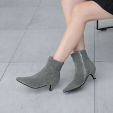 Lady Kitten Solid Suede Boots Women Pointed Toe Mid Heel Casual Bootie Shoe Size