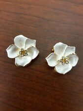 Gold Tone Pearlescent Dogwood Flower Clip On Earrings Vintage