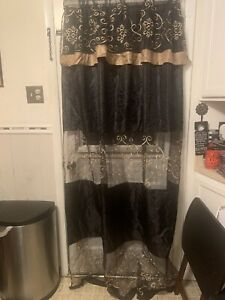 Beautiful Black And Gold Embroidered Curtain