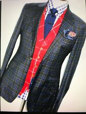NEW MENS HACKETT LONDON BROWN & BLUE BOX CHECK SPORTS SUIT JACKET BLAZER 38 R