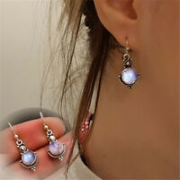 Gift Retro Vintage Rainbow Moonstone Ear Studs Silver Plated Dangle Earring