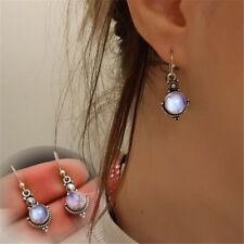Gift Retro Vintage Rainbow Moonstone Ear Studs Silver Plated Dangle Earring