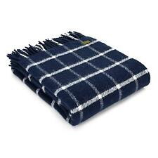 Lifestyle Navy Blue Check Pure New Wool Throw / Blanket by Tweedmill Textiles