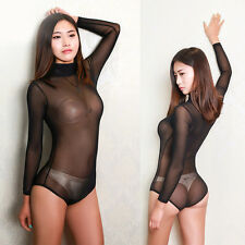 Sexy Damenbody trensparenter Tüll-Bodysuit Langarm-Body ärmelloser Body Leotard