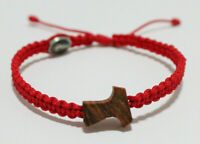 Olive Wood Tau Cross Bracelet on Red Cord With Medal Jesus And Virgin Mary
