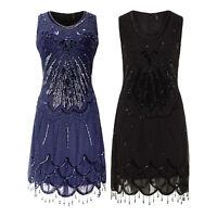 Elegant 1920's Blue Scoop Neck Beaded Hem Sequin Gatsby Flapper Dress New 8 - 24