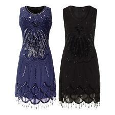 Live 2 Love 1920 Blue Scoop Neck Beaded Hem Sequin Gatsby Flapper Dress BNWT