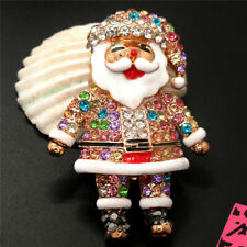 Santa Claus Christmas Brooch Pin New Betsey Johnson Enamel Colorful Crystal