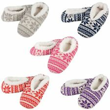 New Ladies Snoozie Fairisle Knitted Snugg Slippers With Supersoft Sherpa Lining