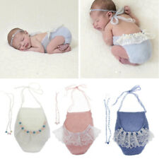 Photography Props Newborn Mohair Pearl Headband and Mohair Pants Set Baby Photo