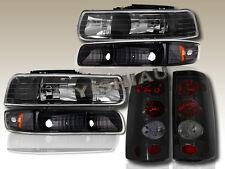 1999-2002 CHEVY SILVERADO Headlights Black + Bumper + Dark Smoke Tail Lights NEW