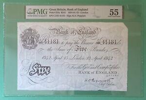 B241 PEPPIATT 1942 WARTIME BANK OF ENGLAND WHITE FIVE POUND NOTE A/UNC 55 PMG