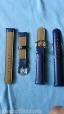 2 bracelets de montre cuir bleu nuit  . Disponible en 18 mm