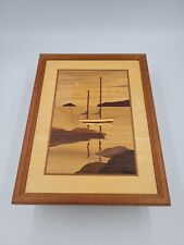 """HUDSON RIVER INLAY Marquetry #201 """"BOAT ON THE WATER"""" Nautical Signed Art Nelson"""