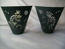 2 Retired Partylite Wall Sconces Metal Native American Indian Dance Flute Lizard