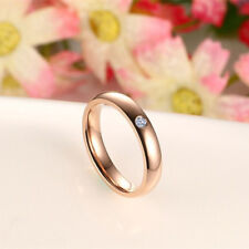 18K Gold Plated Stainless Steel Wedding Engagement Ring 4MM Women's CZ Band Gift