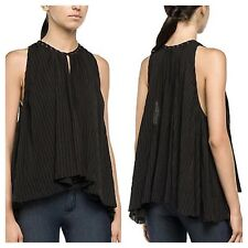 Replay Size L 14 Black Stripe Dip Hem Halterneck TOP Occasion Evening Party £100