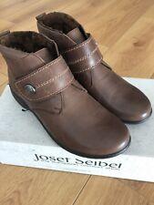 Nueva marca Josef Seibel Damas Piel Forrada De Cuero Marrón Velcro Tobillo Boot-UK 4/37