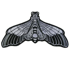 Large Moth Iron On Patch Embroidered Sew Black And White 30cm x 15cm  P613