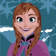 DIY Paint By Number Linen Stretched Canvas 8inX8in Craft Frozen Anna Elsa Olaf