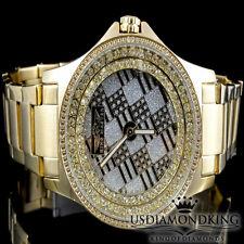 Men's King Master 47 MM Yellow Gold Finish Genuine Real Diamond Watch 0.12 Ctw