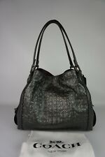 Authentic Coach Edie 31 Signature Rivet Metallic Graphite Leather Hobo--NWT $395