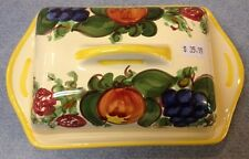 Vietri Pottery-Square Butterdish Enza Yellow.Made/Painted by hand in Italy