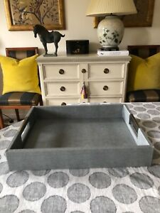 Grey FAUX SHAGREEN Canvas Serving Luxe Tray ~ Oka/Andrew Martin style