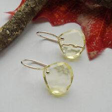 Limonenquarz, Tropfen, gelb, facettiert Ohrringe, Ohrhänger, 925 Sterling Silber