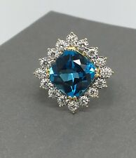 14K Solid Two Tone Gold Natural Diamod and Blue Topaz Cushion Shape Ring