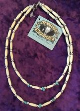 Handmade Bone Beaded Necklace w turquoise MADE IN USA by Cactus Mountain Designs