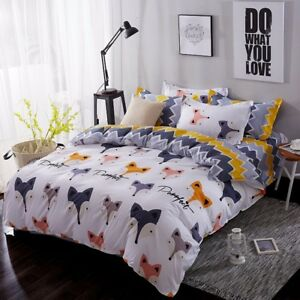 CUTE FOX KIDS Duvet Cover Bedding Set (Pillowcases + Flat Sheet)- FULL/QUEEN