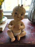 VINTAGE BISQUE PORCELAIN HAPPY PIANO BABY FIGURINE BY NORCREST JAPAN